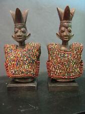 Fine Ibeji Male & Female Twins W/ Beaded Jackets . Yoruba /Nigeria / Santeria
