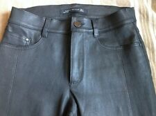 Zara Stretchy Black Real Leather Trousers - Size Small
