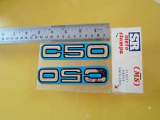 Honda  N.O.S C50 BLUE Stickers set of two made in Grecce 1980's PRICE A PAIR NEW