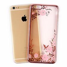 Clear Diamond Bling TPU Silicone Soft Case Cover Flowers Plating Design Luxury