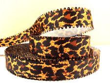 1 METRI Scuro Leopardato Wave Bordo Nastro Taglia 7/8 fiocchi fasce clip torta