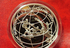 2004 Peru Large Silver Proof 1 Sol World Cup Soccer(Football)-players