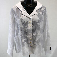 NEW Escaladya Floral Sheer White Lagenlook Button Down Blouse 1 fits XL Germany
