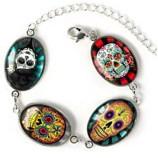 Day of the Dead Muertos Sugar Skull Tattoo Sterling Silver Glass Charm Bracelet