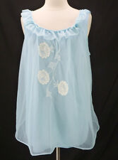 Vintage 60s Sears Double Nylon Chiffon Lace Trim Babydoll Short Nightgown M