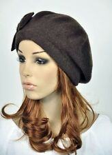 M10 All-Purpose Wool Women's Winter Dress Hat Beanie Beret Cap Cute Bow Coffee