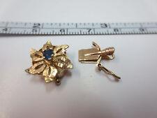 Vtg 14k Solid Y. Gold Sapphire Flower Clasp for Single Strand Bracelet Necklace