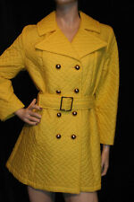 M~L Bright Yellow Quilted Nylon Vtg 60s 70s Mod Double Breasted Trench Coat