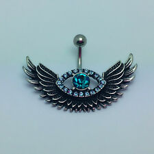 Eye Angle Wings Belly Button Ring Dangle Navel Body Jewelry Piercing Bar