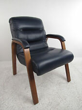 Mid-Century Modern Dark Blue Vinyl Lounge Chair (8090)NJ