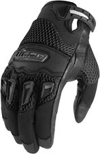 ICON Twenty-Niner Leather/Mesh Short Gauntlet Motorcycle Gloves (Black) M/Medium