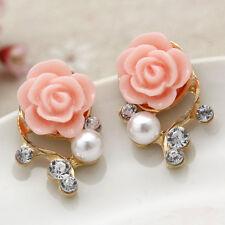 Women Flower Earring Pierced Rose Charms Crystal Pearl Ear Studs