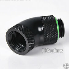Brarrow 45 Degrees 2 Way Rotary Adapter For PC Liquid Cooling G1/4 Thread Black