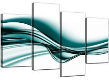 Large Modern Teal Canvas Wall Art Pictures 130cm Wide Prints Set 4033