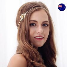 Women Girl BOHO flower Gold Rose wedding Party Hair chain head band Headband