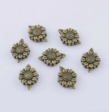 20 Bronze Sunflower Metal Flower Charm Spacer Beads Jewelry Making Finding 13mm