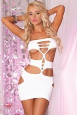 PL-25015 Sexy Gogo Dancer Raver Wear Seamless Cut Out Tube Top White Mini Dress