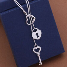 Women Fashion 925 Sterling Silver Plated Heart Lock Key Pendant Chain Necklace