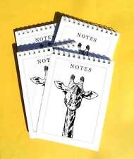 Giraffe Head Black Ink Pack of 4 A6 Note Pads Gift Set Wild Animal