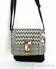 "Laurel Burch Flap Over Small Crossbody ""Wild Cat Black & White"""