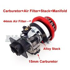 15mm Carburetor Air Filter Alloy Stack Kit 33cc 43cc 49cc Gas Scooter Goped EVO