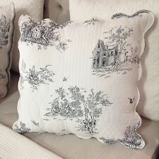French Country Toile Euro Cushion / Pillow Cover Toile Black And White New