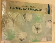 "RARE FLANNEL BACK VINYL TABLECLOTH 52"" x 70"", SEA LIFE # 2"