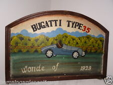 Vintage Art Deco Arched Wooden Hand Painted Bugatti Type 35 Wonde Car Sign 1929