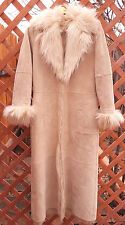 Newport News Leather Overcoat Trench Coat-Faux Fur Lining-S-Easy Style-Light Tan