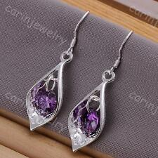 Fashion Jewelry Ladies 925 silver Dangle earrings with purple crystal