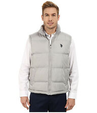 U.S. POLO ASSN. Vest Mens Logo Quilted Puffer Vest Jacket XL Limestone Grey NWT