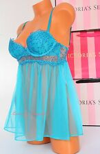 NWT Victoria's Secret Lingerie Bustier Fly-away Babydoll Push-up 34B Turquoise