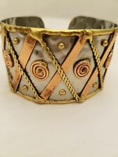 Handcrafted Stainless Steel Brass And Copper Cuff Bracelets With Swirl Design