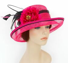 New Woman Church Derby Wedding Sinamay Ascot Dress Hat SDL-004 Hot Pink / Black