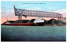 Mid-1900s Loading Coal aboard Lake Carrier at Port of Duluth, MN Postcard