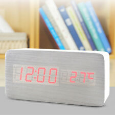 Digital LED Wood Table,Desk Alarm Clock Timer Thermometer Snooze Voice Control#