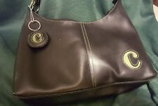 Black Vinyl Shoulder Bag w/Initial C Key Chain and Intial C on Bag