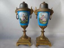 Pair of Antique French Gilt Metal & Blue Sevres Porcelain Urnular Lamp Bases 10""