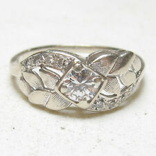 1930s Vintage 14K White Gold 0.30 Ct European Cut Diamond Ring 0.38 Cts TW