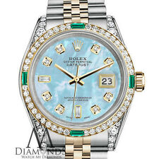 Ladies Rolex Steel-Gold 26mm Datejust Baby Blue MOP 8+2 Diamond Emerald Watch