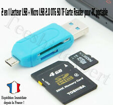 2 en 1 Lecteur USB + Micro USB 2.0 OTG SD TF Carte Reader pr PC Portable Mobile