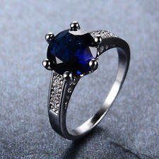 6.80/ct Round Cut Blue Sapphire Engagement Ring 10KT White Gold Filled Size 7