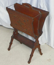 Antique Walnut Victorian Eastlake Magazine Rack