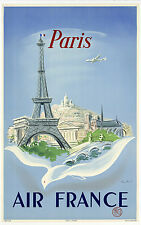 ON LINEN- ORIGINAL Vintage Airlines Travel Poster PARIS Air France EIFFEL TOWER