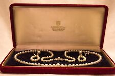 Women's Vintage K. Mikimoto Pearl Necklace and Earrings set