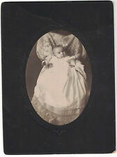 Antique Cabinet Card Photo Baby in Victorian Gown - USA -  w/ Name on back