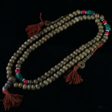Big Tibetan Turquoise Coral 108 Yak Bone Prayer Beads 3 Tassel Mala Necklace 30""