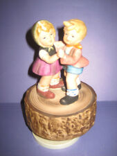 Little Boy Girl Dancing 1970's Musical Figurine IT'S A SMALL WORLD Vintage