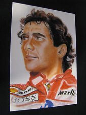Postcard Ayrton Senna (BRA) WC 1988-1990-1991 painting by G. Willem Lubach (NED)