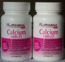 PlusPharma Calcium 600mg + D (Compare to Caltrate with D) 60 ct x 2 pk, Exp 4/18
